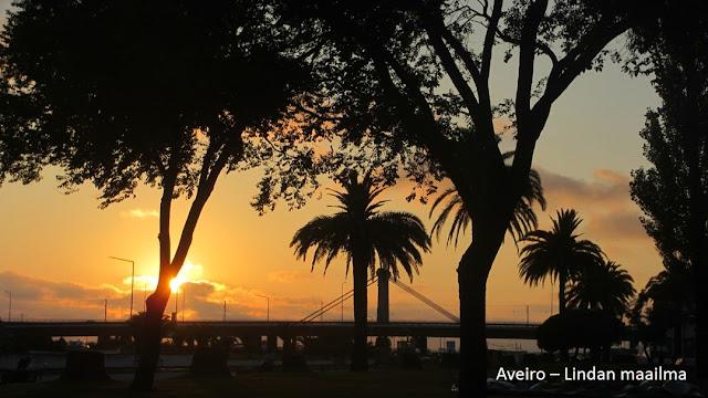 Auringonlasku Aveiro Portugali
