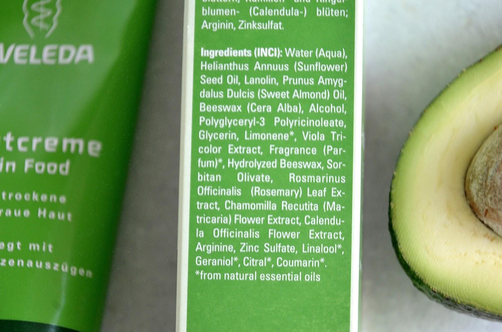 weleda skin food ingredients