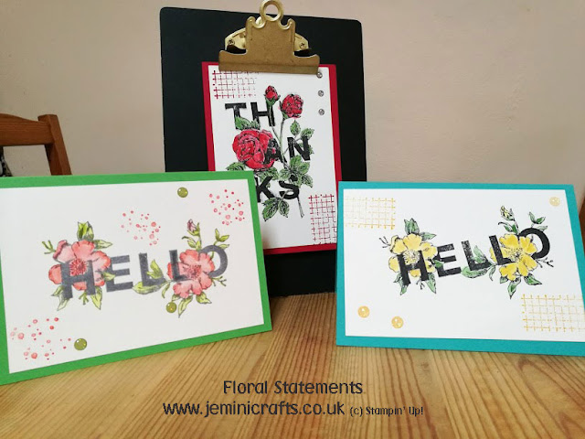 Floral Statements easy watercolouring stamped image Jemini Crafts