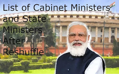 List of Cabinet Ministers and State Ministers After Reshuffle (#India)(#polity)(#compete4exams)(#upsc)(#eduvictors)