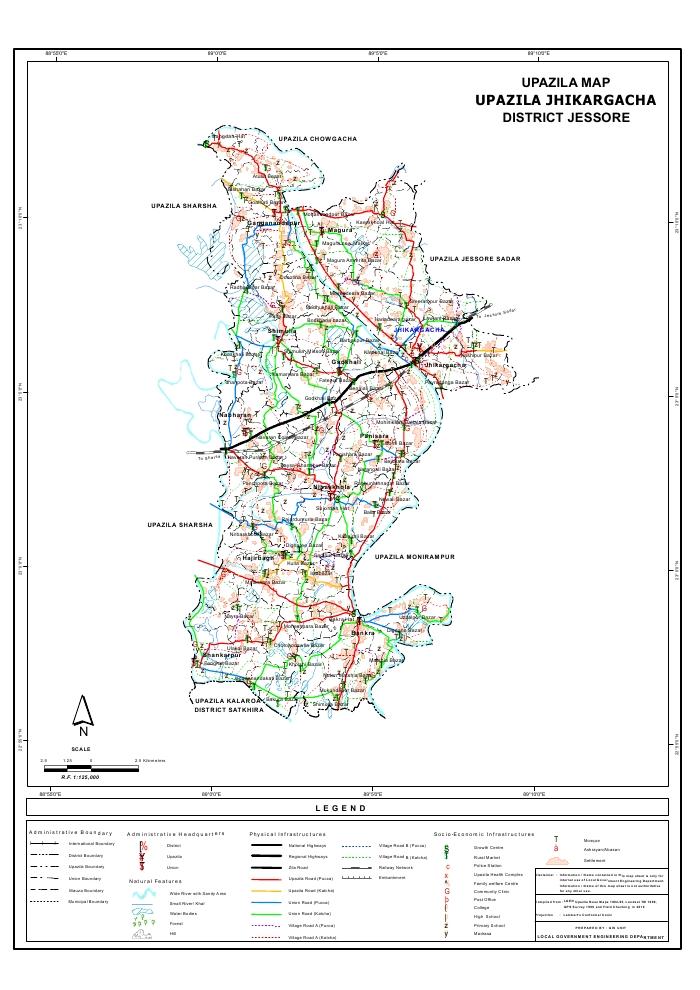 Jhikargacha Upazila Map Jessore District Bangladesh