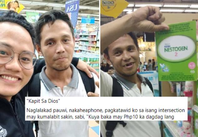 Pinagtagpo at Tinadhana talaga, Lalaking Namamalimos ng 10 pesos, Nakatagpo ng isang Good Samaritan