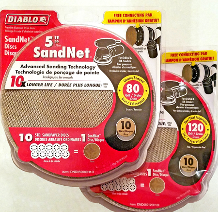 Diablo 80 and 120 grid sanding discs