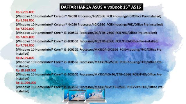 Daftar Harga ASUS 15 Inch A516