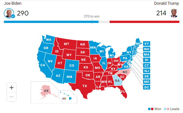 The electoral map for the 2020 U.S. presidential election as of November 7, 2020.