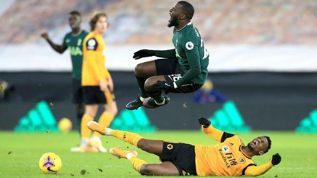 Wolves defender Semedo tackles Tottenham midfeilder Ndombele