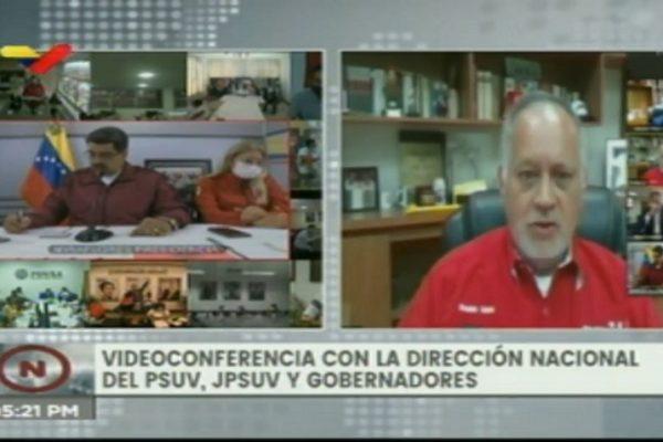 Reaparece Diosdado Cabello en videoconferencia tras superar la covid-19