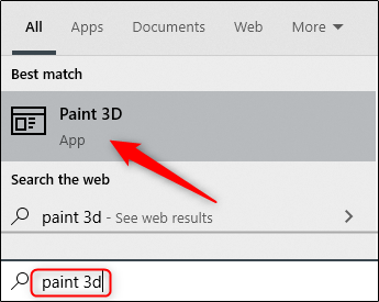 ابحث عن Paint 3D