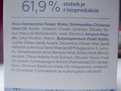 hydratačná maska Ectoin a Q10 Dulcia Natural zloženie