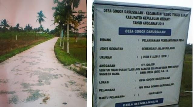 Pemdes Desa Gogok Darussalam Melaksanakan  Pembangunan Semenisasi Jalan Dulasih