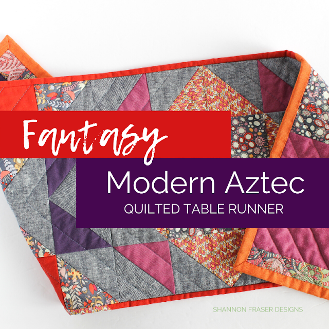 Fantasy Modern Aztec Quilted Table Runner | DIY Home Décor | Shannon Fraser Designs #quiltedtablerunner #diy #homedecor #tablelinens
