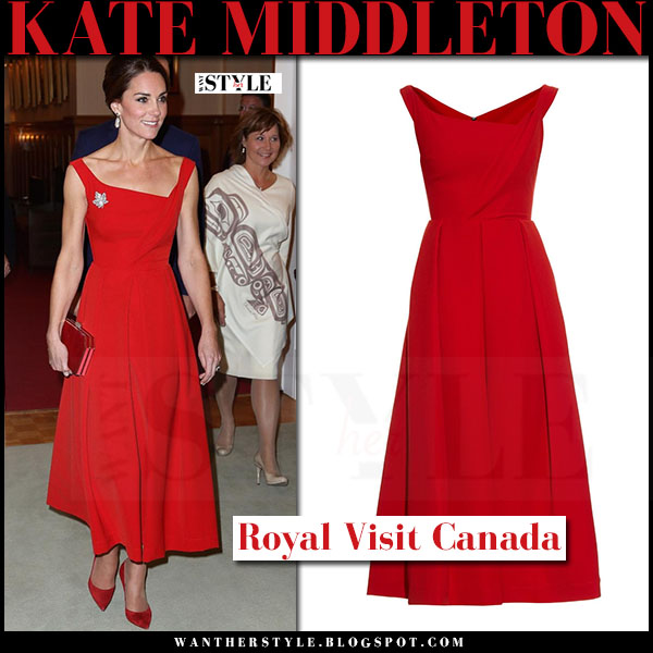 Kate Middleton in red midi dress preen finella and red suede pumps gianvito rossi what she wore royal visit canada