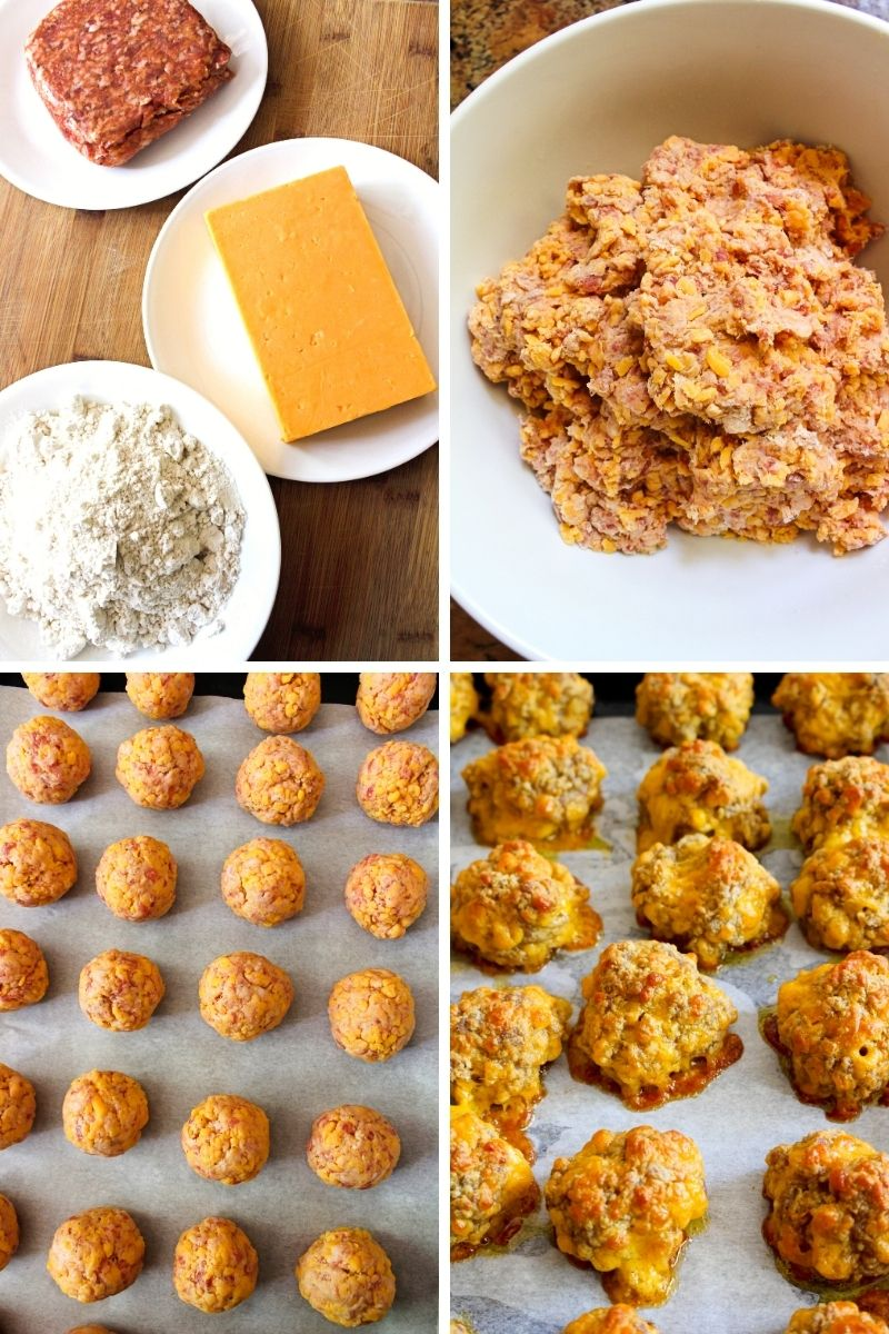 Collage of images of sausage balls being made.