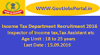 Income Tax Department Recruitment 2016
