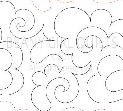 'Fluffy Clouds' digital pantograph designed by Beany Girl Quilts
