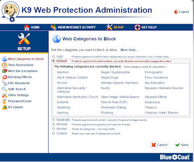 Tampilan K9 Web Protection