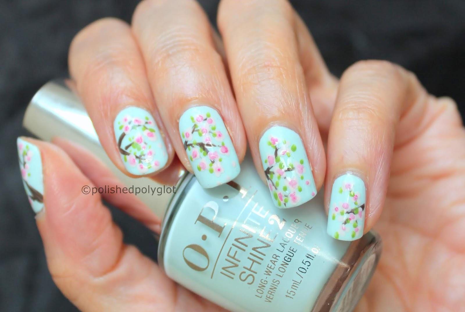 Nail Art Cherry Blossoms Manicure Polished Polyglot