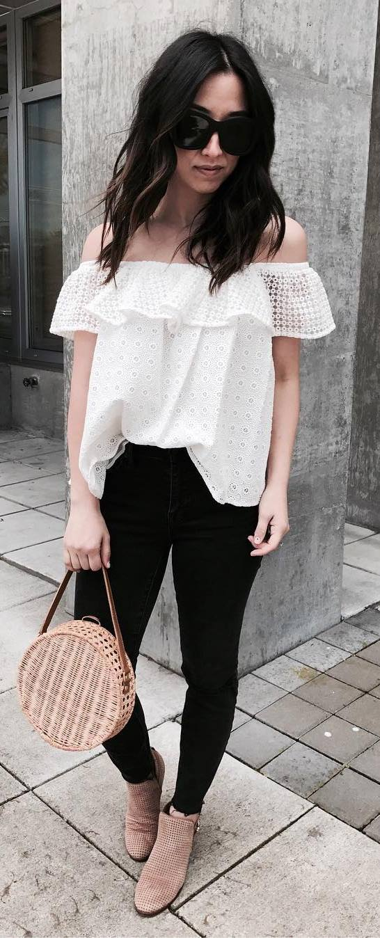 trendy outfit idea: off shoulder top + bag + pants