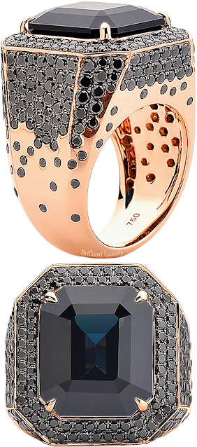 Paolo Costagli 18ct rose gold black spinel & black diamond ring #brilliantluxury