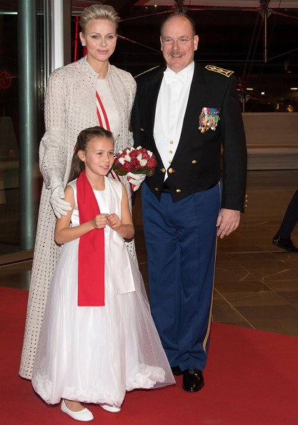 Princess Charlene, Prince Albert II, Princess Caroline of Hanover and Andrea Casiraghi attend National day gala