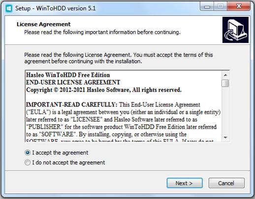 Hướng dẫn cài đặt phần mềm WinToHDD đơn giản b