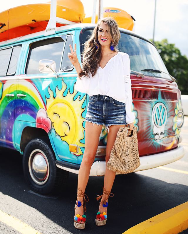 Love the whole outfit and pom pom shoes