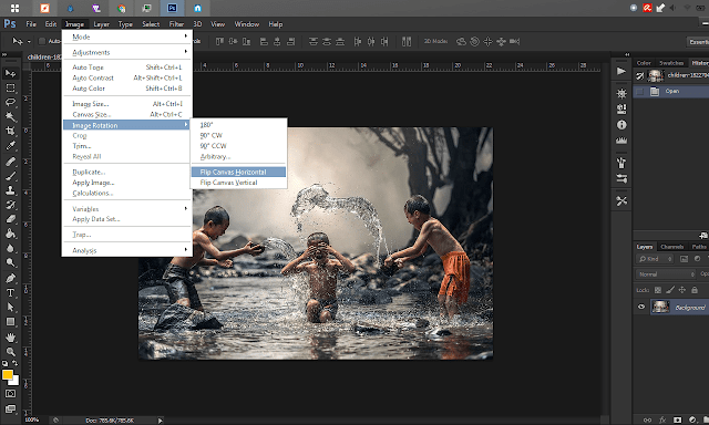 how to flip image in Photoshop easily