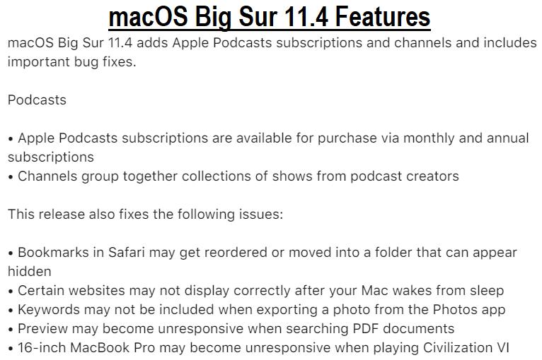 macOS Big Sur 11.4 Features