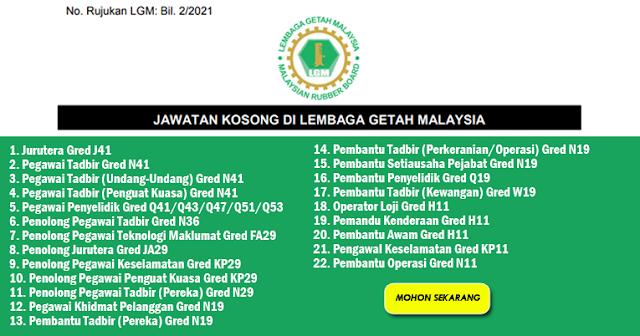 lembaga getah malaysia jawatan kosong jun 2021