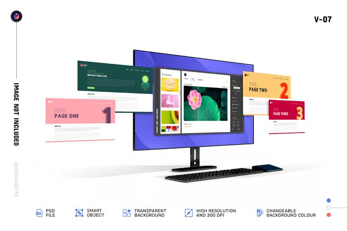 Modern 3D Web Computer Screen Mockup