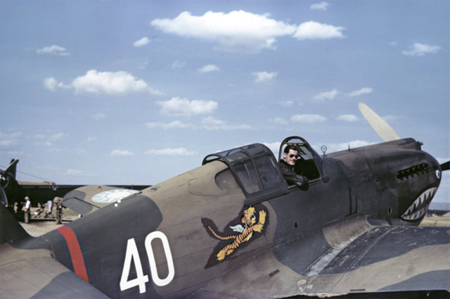 P-40 of the Flying Tigers in Kunming, China, 23 May 1942 worldwartwo.filmisnpector.com