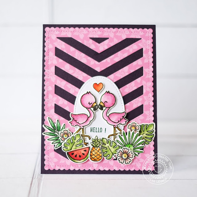 Sunny Studio Stamps: Frilly Frames Dies Fabulous Flamingos Home Sweet Gnome Backyard Bugs Fluffy Clouds Stitched Ovals Cards by Lexa Levana and Rachel Alvarado