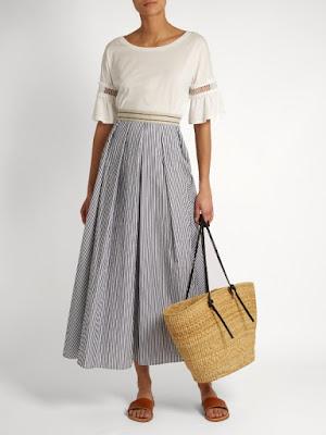 Black and white striped midi skirt from Max Mara on Matchesfashion.com
