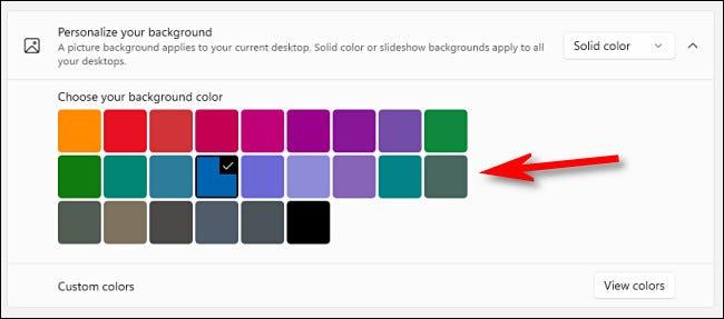 """باستخدام خيار """"لون خالص"""" ، انقر على لون في الشبكة."""
