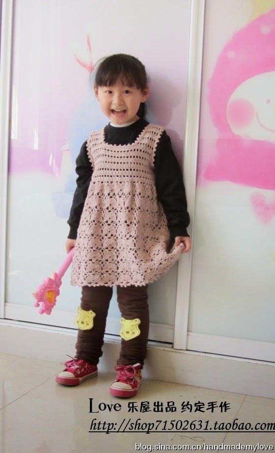 Vestido de niña a Crochet