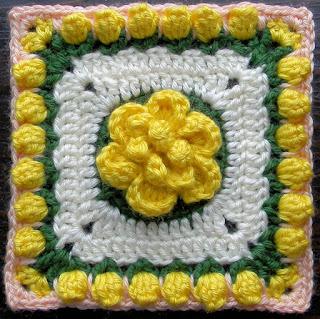 "Free Granny Square Crochet Pattern - Lady's Rose 6"""