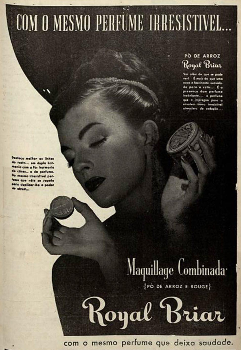 Propaganda antiga da maquiagem Royal Briar veiculada em 1946