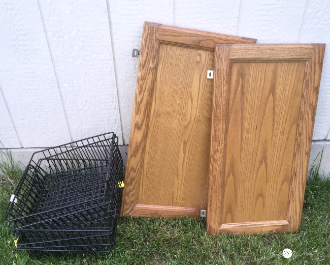wire baskets and cabinet doors