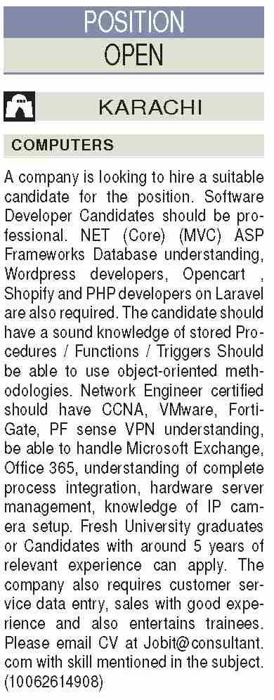 Software Developer Job 2021 in Karachi