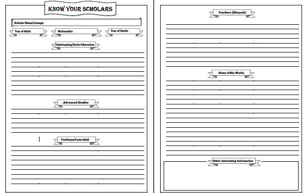 Scholars Notebooking Page