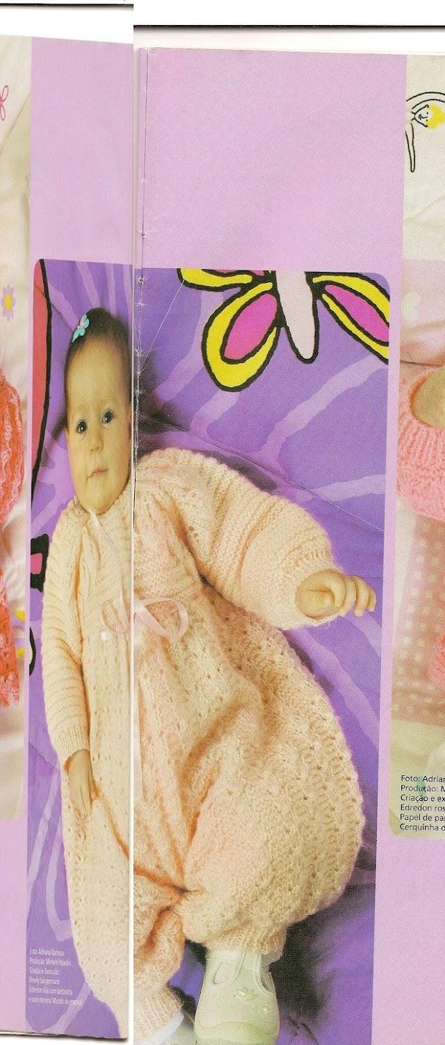 Macacão Pala Folhas ,Poncho e Blusinha em Tricô para Bebês