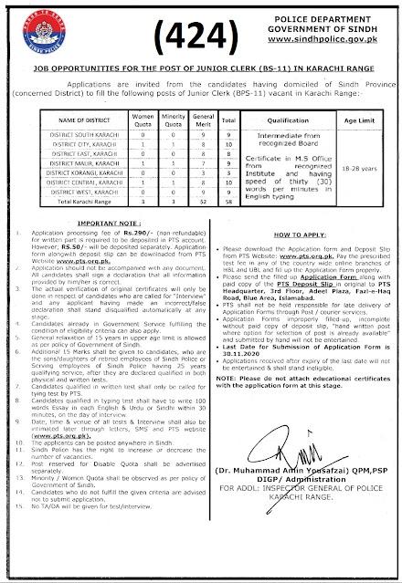 Sindh Police Department, Govt. of Sindh Phase VI (SPD) (424)