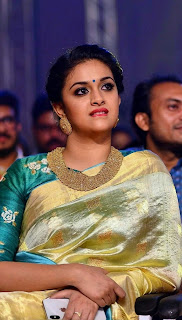 Keerthy Suresh in Saree with Cute and Awesome Lovely Chubby Cheeks Expressions