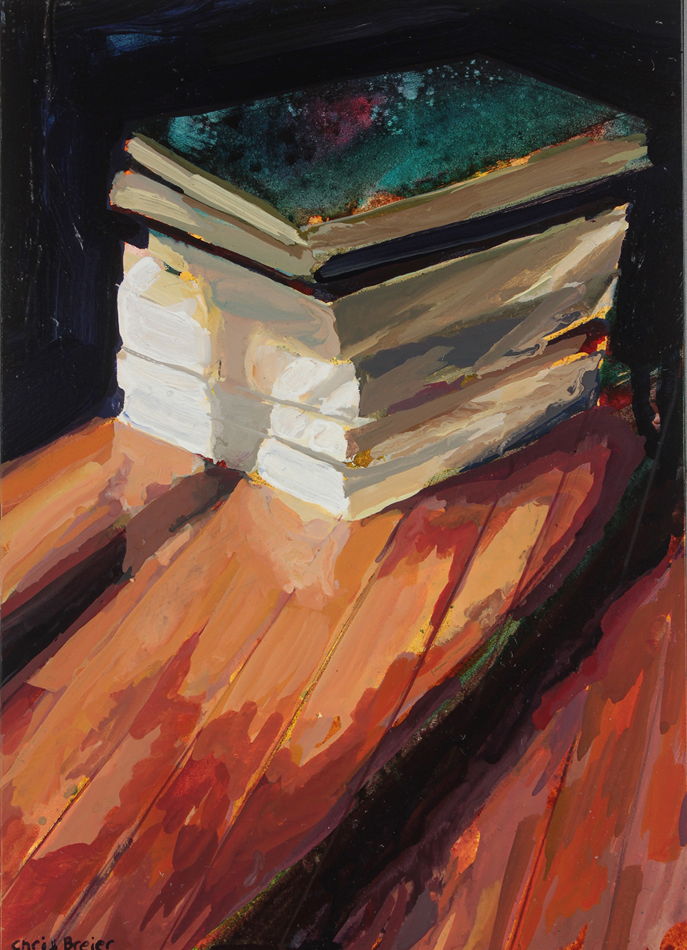 An acrylic painting of a stack of books on hardwood floors