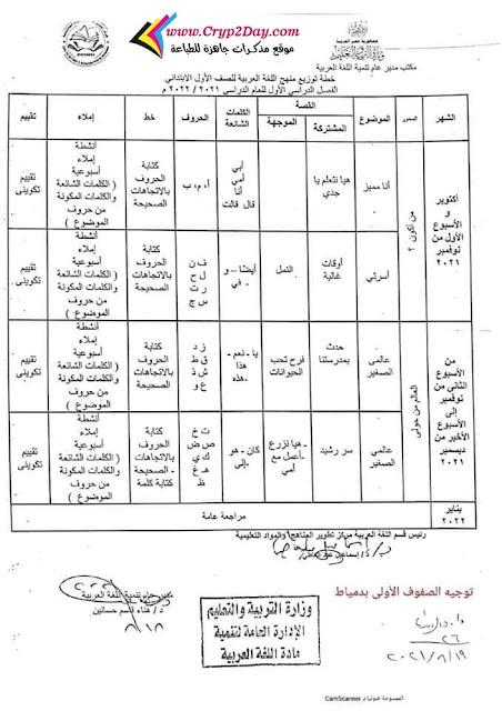 توزيع اللغة العربية للصف الاول الابتدائي ترم اول 2022