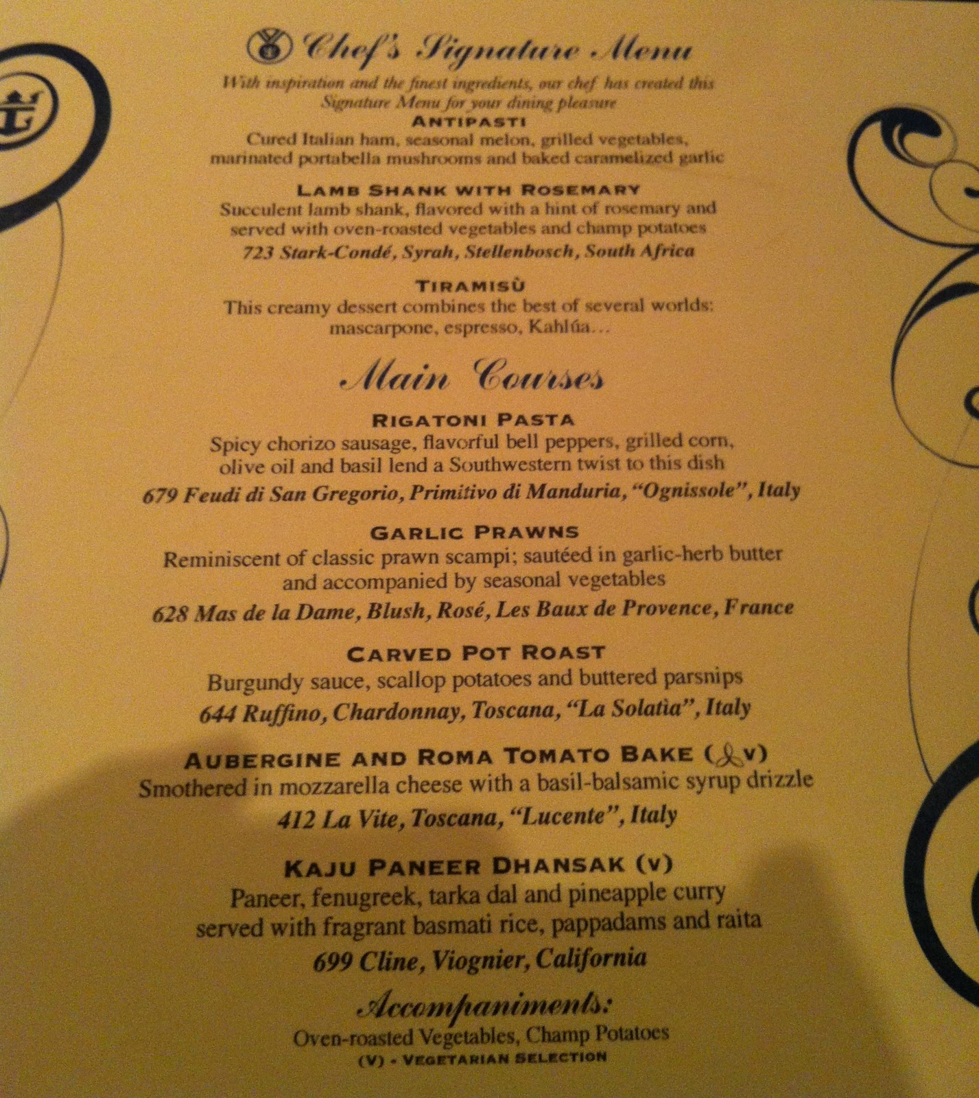 Prego Cucina Italiana Menu Taste Of Hawaii Royal Caribbean Independence Of The Seas Dinner