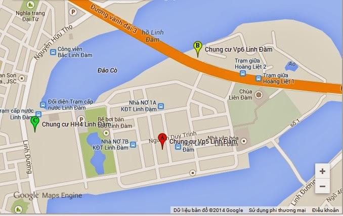 Vị trí tòa chung cư hh4 tại khu đô thị linh đàm