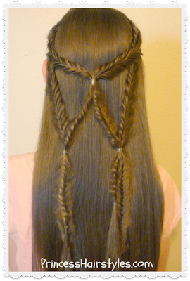 Angel wings fishtail braid, half up hairstyle tutorial