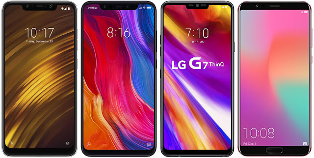 Xiaomi Pocophone F1 128G vs Xiaomi Mi 8 128G vs LG G7 ThinQ vs Honor View 10