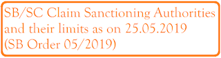 Claim Sanctioning Authorities and their limits as on 25.05.2019